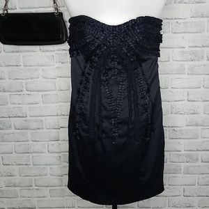 Bebe Embellished Strapless Satin Dress Size Small